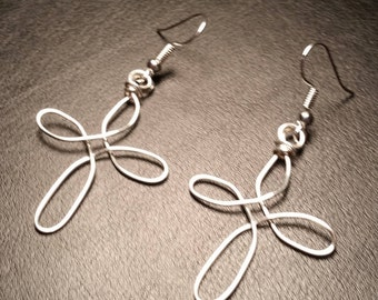 Silver plated handmade made wire cross wire wrapped drop dangle earrings