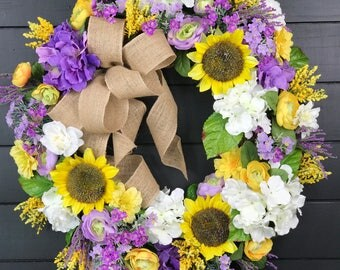 Spring Wreath/ Easter Wreath/ Mothers Day Wreath/ Front Door Wreath/ Sunflower Wreath/ Burlap Wreath/Country Wreath