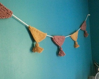 Knit Garland flags and tassels