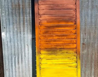 Reclaimed shutter painted sunset