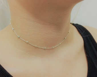 Silver Bead necklace, Dainty Necklace, Layering Necklace, Dainty choker, Sterling silver necklace, Textured bead necklace  simple necklace
