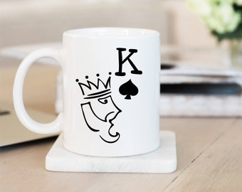 King Poker Mug, King Mug, Poker Mug,Poker Gifts,Boyfriend Mug,Gift For Poker Players,Valentines Day Gift Idea,Queen Poker,Boyfriend Gift