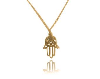 Hamsa necklace Gold Hamsa Necklace Hamsa Pendant Hamsa Hand Necklace Hand Hamsa Necklace