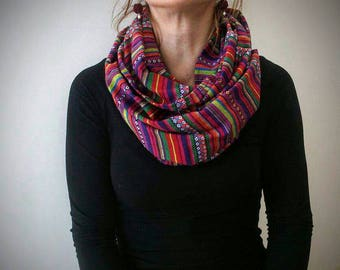 Round scarf, Circle scarf, Ethnic scarf, Tibetian, Loop scarf, Cotton scarf, Unique scarf, Neck warmer, Patch scarf, Summer scarf,Tube scarf