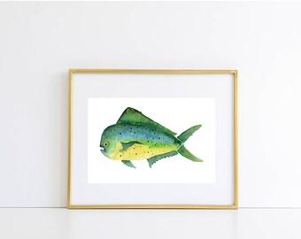 Mahi Mahi Fish Watercolor Print