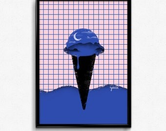 Digital Because The Night Minimal Ice Cream Print