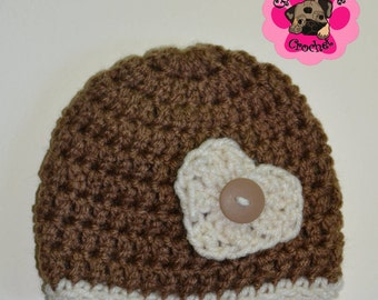 Adorable newborn heart embellished crochet hat, 0-3 months