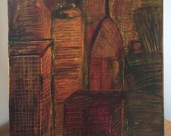 "Acrylic painting ""Red city"" original"