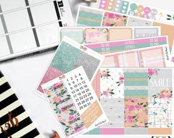 Tribal Flowers planner stickers for Erin Condren LifePlannerTM pastel summer aztec floral stickers july weekly watercolor sticker set