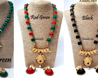 Silk Thread Jewelry Set with Jhumkas Green/Red Green/Black -Handmade Indian Jewelry