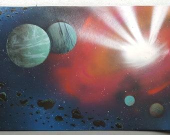 """Supernova   15"""" x 22"""" Spray Paint Art"""