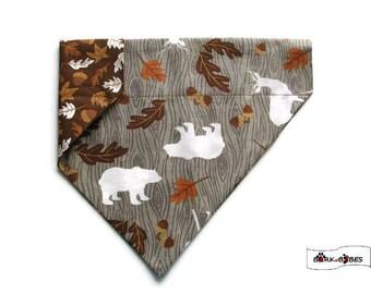 Fall Dog Bandana – Bears & Deer-Fall Leaves-Acorns-Bark–Reversible–Slides on Collar