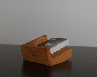Business Card Holder Concrete Real Rust Patina