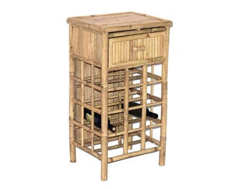 Bamboo Wine Rack with Drawer - Wine Bottle Holder Storage