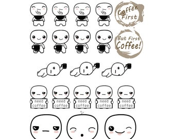 Poppets, Coffee Lover, Coffee Addict, Coffee, Character - Planner Stickers