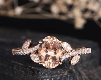 Morganite Engagement Ring Rose Gold Oval Cut Solitaire Half Eternity Diamond Women Bridal Promise Anniversary Leaf Vine Her Women Gift