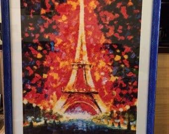Paris, Eiffel Tower, cross stitch