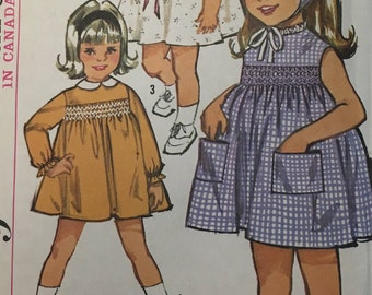 Vintage Simplicity sewing pattern #5847 - ©1964 - Toddler's Size 3 - One-Piece dress and scarf - COMPLETE WITH Smocking