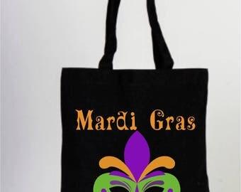 Black Canvas Bachelorette Tote Bag, Mardi Gras Mask, Marti Gras Bag, Wedding Bag, Personalized Party Favors, Black Tote Bag