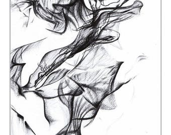 Illustration Flamme feu // Drawing fairy // Graphite and ink black and white  // Print format 15x9 inch