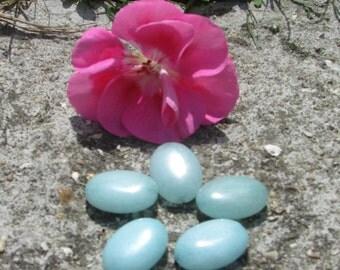 Set of 4 oval Brazilian aquamarine 13 X 18 mm beads