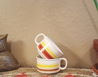 Vintage yellow and brown striped soup mugs.  Retro mugs.