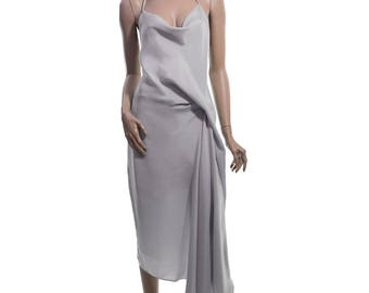 Draped Cocktail and Evening Dress in Taupe-gray color - Eco-friendly fabric