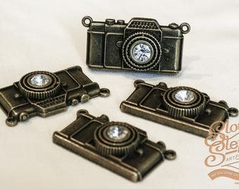2 Pieces Antique Bronze Large Camera Charms with Rhinestone