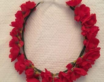 Scarlet Begonia Flower Halo, Grateful Dead Flower Crown, Boho Flower Halo, Red Flower Halo, Floral Halo, Floral Crown, Flower Crown, Hippie