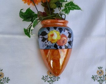 Vintage Hand Painted Roses Orange Luster Wall Pocket, Wall Planter, Wall Vase