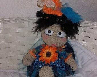 Flower crocheted wool 40 cm doll