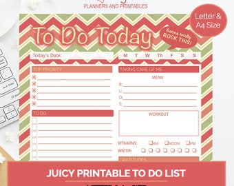 Juicy To Do List, daily planner, printable planner, goal setting planner, organizational planner, day organizer, letter size planner, A4