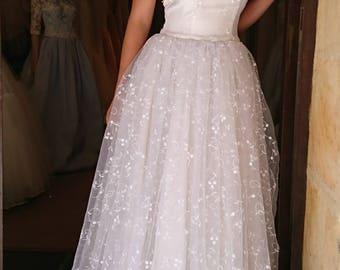 Long ivory wedding dress