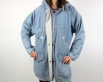 vintage 80s 90s acid stone wash oversize denim jacket Medium