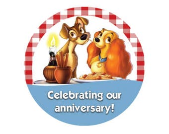 Lady and the Tramp Anniversary Button - Disney Button - Lady and the Tramp Pin - Anniversary Pin - Theme Park Button