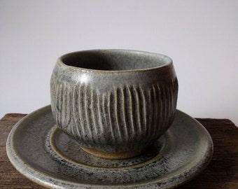 Handmade Tea Bowl with Saucer | Ceramic Tea Bowl, sake cup, Tea Cup, Earthy Tea Bowl, Rustic Tea Bowl, Saucer, Chawan Tea Bowl, espresso cup