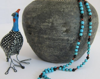 Turquoise-Onyx Wrap Necklace - Genuine Gemstones & Pure Silk Thread