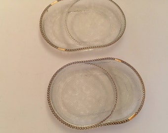 Vintage 2 Glass Coasters TeaBag Holder Spoon Rests Gold Trim