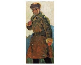 VINTAGE MALE PORTRAIT, Old Original Oil Painting by Soviet Russian Ukrainian artist A.Solodovnikov 1960s, Man's figure, Socialist Realism