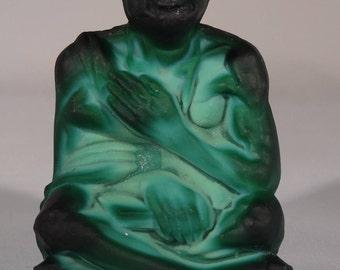 Rare Czech Curt Schlevogt, circa 1930's, Gandhi statue, green malachite crystal glass.