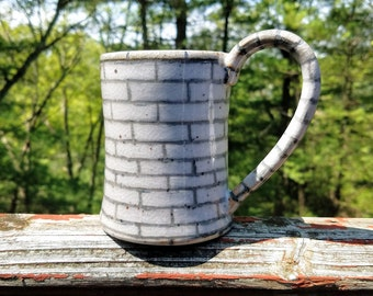 Crackle Pottery / Stone Mug / Ceramic Mug / Wheel Thrown Mug / Stoneware Mug / Handmade Mug