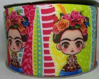 """3"""" Frida Kahlo Inspired Ribbon, 3"""" Ribbon, Grosgrain Ribbon, Character Ribbon, Cartoon Ribbon"""