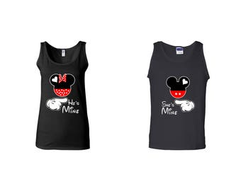 Valentine Gifts He's She's Mine Mickey Minnie Mouse Disney COUPLE Printed Adult Tank Tops Unisex Tops for Men Women Matching Clothes