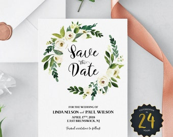 Watercolor White Flower Save the Date Template - Floral Save the Date Cards - Custom Boho Save the Date - Rustic Save the Date