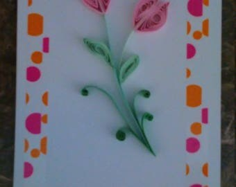 3D Handmade quilled tulips card