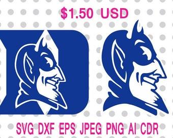Duke Blue Devils Logo Svg Dxf Eps Png Jpg Cdr Ai Cut Vector File Silhouette Cameo Cricut Design Vinyl Decal