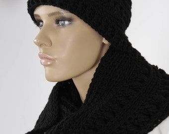 Crochet Black Set Hat And Scarf, Black Neckwarmer, Black Hat. Infinity Chunky Scarf, Handmade Hat And Scarf, Adult Winter Set