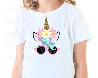 Summer Unicorn svg, summer svg, unicorn svg, summer shirt svg, PNG, DXF, unicorn flowers svg, unicorn sunglasses svg, kids summer shirt