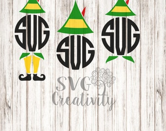 The Elf Monogram SVG, Buddy the Elf Monograms SVG, Elf Monograms SVG