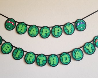 Ninja Turtle Birthday Banner - TNMT Birthday banner - Ninja Turtle party decor - Happy birthday banner - Boys birthday party decor